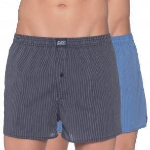 JOCKEY 2er-Set Woven Boxershorts, blau-schwarz gestreift