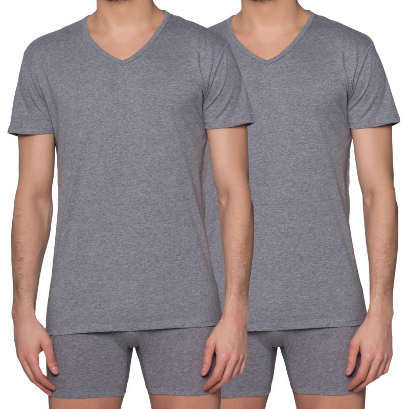 Puma 2-er Set V-Neck T-Shirts Grau