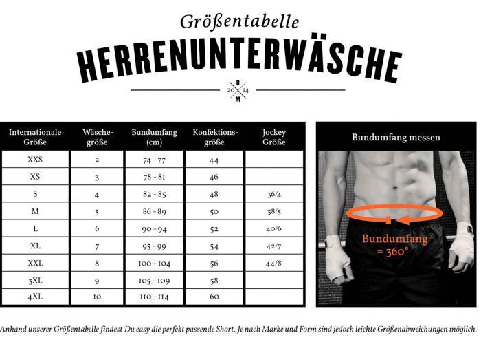 verkauf uk lebendig und großartig im Stil neue Fotos Größentabelle für Herren Unterwäsche | Boxerman