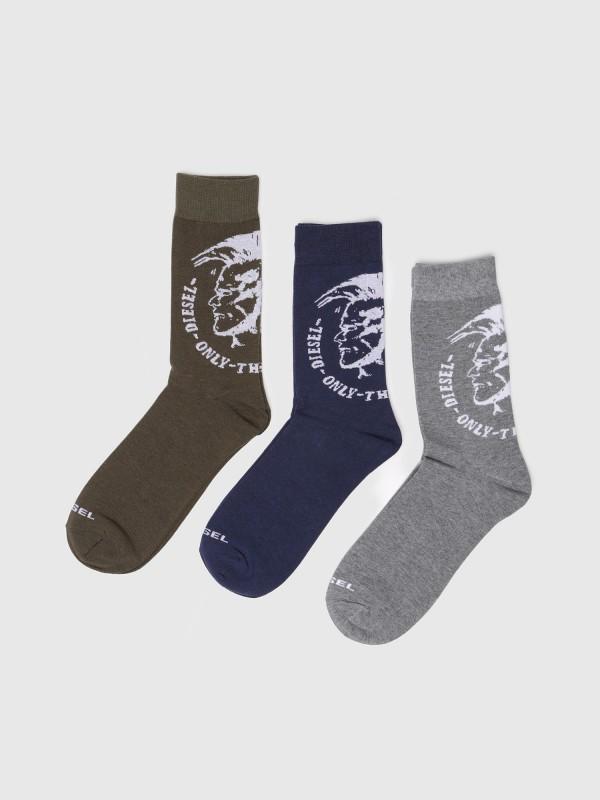 Diesel 3-er Set Socken Grau Grün & Blau mit Indianerkopf